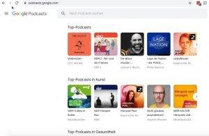 Screenshot Google Podcast Verzeichnis-Ansicht